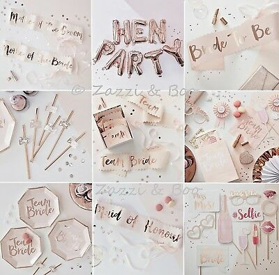 Team Bride To Be Hen Party Night Rose Gold Pink Sashes Decoration Supplies