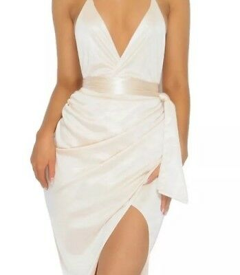 111ad29b0a6 OH POLLY CHAMPANGE NUDE WHITE Satin Dress - Size 10 - £15.00 ...
