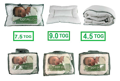 Microfiber Baby Toddler Cot Duvet & Cot Pillow Anti Allergy 4.5, 7.5, 9.0 Tog