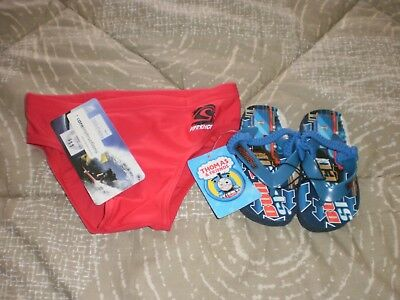 BRAND  NEW  -  Boys  Swimmers  Size  4 + Thongs  Size  5