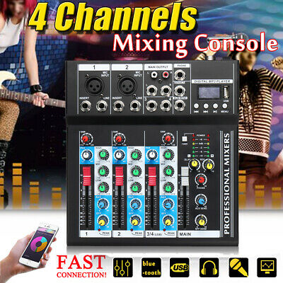 4/7 Channel bluetooth Live Studio Stereo Audio Mixer Sound Mixing DJ USB Console