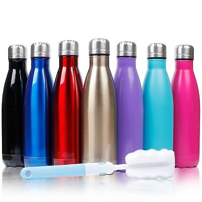(Black) - Sfee 500ml Double Wall Vacuum Insulated Stainless Steel Water Bottle