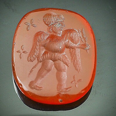 Antique Carnelian Engraved Angel Holding Rice Wheat Intaglio Signet Stamp
