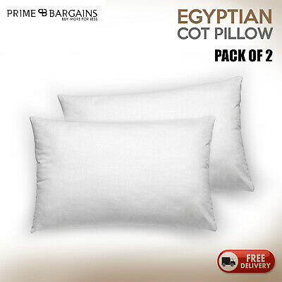 Luxury Hotel Quality Egyptian Cotton Cot Pillow Hollow Fiber Filling Pack Of 2