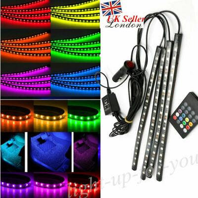 Car Interior Footwell LED Strip Lights RGB Multicolour Remote Atmosphere Decor