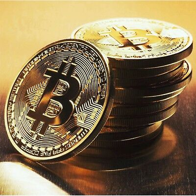Bitcoin Collectors Coin BTC Item Round Rare Physical Gold Plated Gift Currency