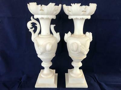 Fine Pair Of Antique French Alabaster Hand Carved Vases.