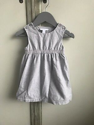 The Little White Company Girls Grey Smock Dress Age 9-12 Months