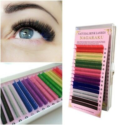 Faux Eyelash Mink Individual Extension Rainbow Colored NAGARAKU Soft Colorful