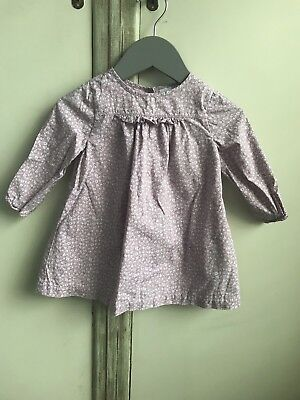 The Little White Company Girls Lilac Floral Dress 6-9 Months