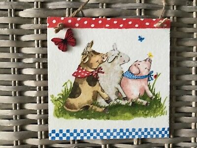 Handcrafted Picture/Plaque/decoupaged/Farmyard animals/cow/sheep/pig