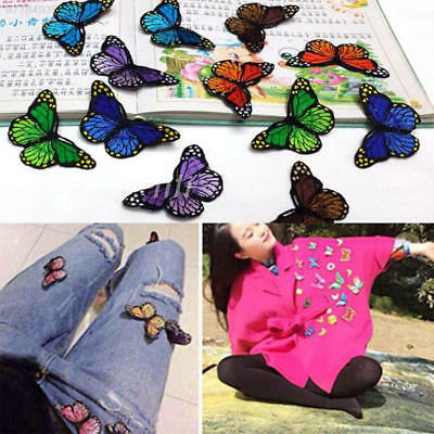 3505 10pcs Butterfly Patch Patches Embroidery Sew Iron On Fabric Applique DIY