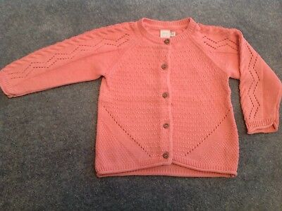 Baby Girls Coral Pink Long Sleeved Cardigan Mini Club Boots 12-18 Months. Salmon