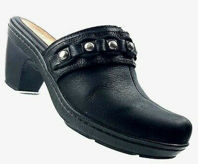 2274a07cf72 NURTURE Dory Black Leather Studded Clogs Mules Platform Shoes Womens Size 7M