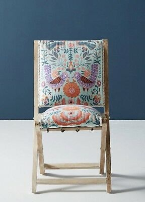 NEW Anthropologie aqua teal Jimena Twin Birds Upholstery Terai Folding Chair