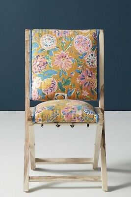 NEW Anthropologie golden yellow Emma Floral Upholstery Terai Folding Chair
