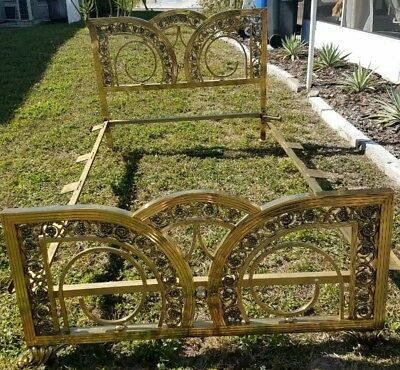 Antique Vintage Brass Bed Full Size with rails Art Nouveau