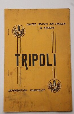 US Air Force Base Pamphlet info Guide Personnel Orientation Tripoli Italy 1956