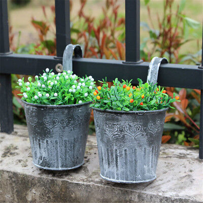 Vintage Metal Hanging Planter Flower Pot Balcony Garden Plant Home Decor ^P