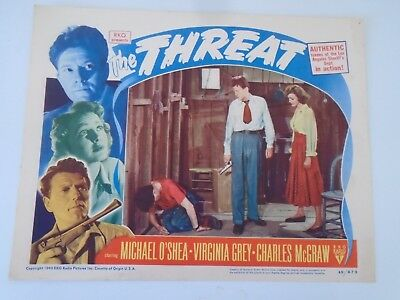 "L3 Lobby Card THE THREAT Michael O""Shea Virginia Grey Charles McGraw"