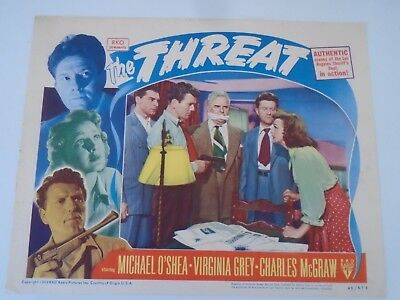 "L1 Lobby Card THE THREAT Michael O""Shea Virginia Grey Charles McGraw"