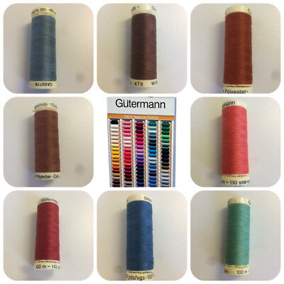 Gutermann 100 metre Reels General Sewing Thread Many Colours