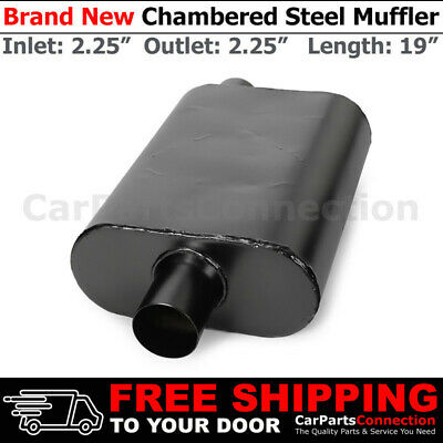 Aluminized Steel Chamber Race Muffler 2.5 inches Center In//Out Black 211767