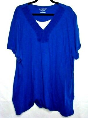 ddc605b0ca6 Catherine s 2X 22 24 Shirt Top Easy Fit Tee Plus Size Blue Short Sleeve  Womens