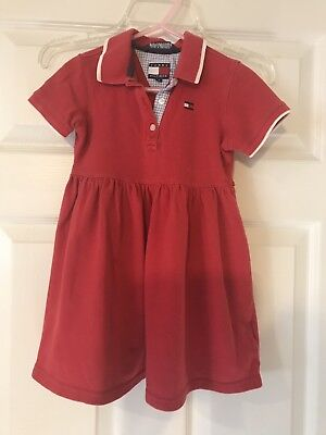 60f1dfdb756 Girls Clothes TOMMY HILFIGER Red T-Shirt Polo Style Trendy Dress Size 4