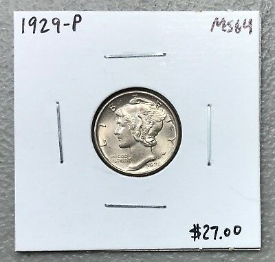 1929-P U.s. Mercury Dime ~ Ms/unc++++ Condition! C1190
