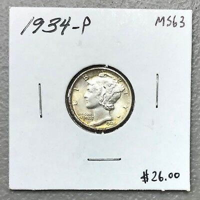 1934-P U.s. Mercury Dime ~ Ms/unc+++ Condition! C1191