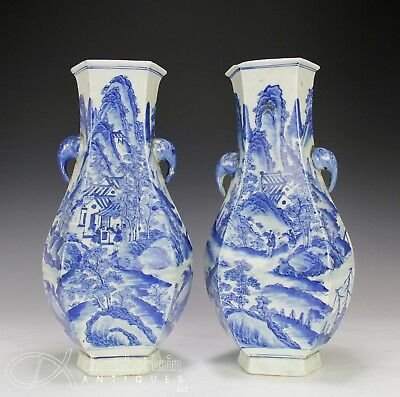 Large Pair of Old Chinese Blue and White Porcelain Vases with Landscapes