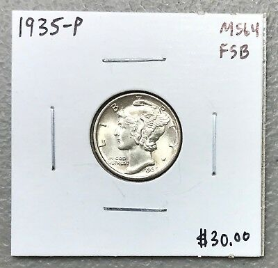 1935-P U.s. Mercury Dime ~ Ms/unc++++ Fsb Condition! C1193