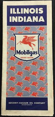Vintage 1940's Illinois Indiana Road Map by Mobilgas Socony-Vacuum Oil Company