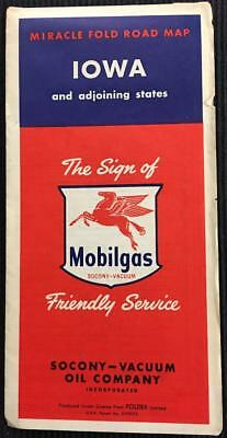 Vintage 1950's Iowa Miracle Fold Road Map by Mobilgas Socony-Vacuum Oil Company
