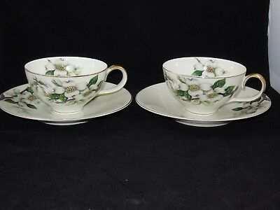 Meito Norleans China Livonia 2 Cups & 2 Saucers Dogwood Flowers Occupied Japan