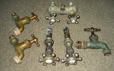 Antique Plumbing Fixtures Lot of 6 Asstd Pcs incl Porcelain, Brass