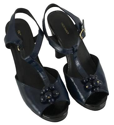 c3a746ef77a4 Old Navy Ladies Womens Navy Blue Black Peep Toe Ankle Strap Heels Size 6