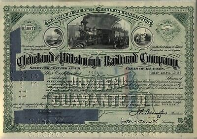 Cleveland & Pittsburgh Railroad Company Stock Certificate Pennsylvania Station