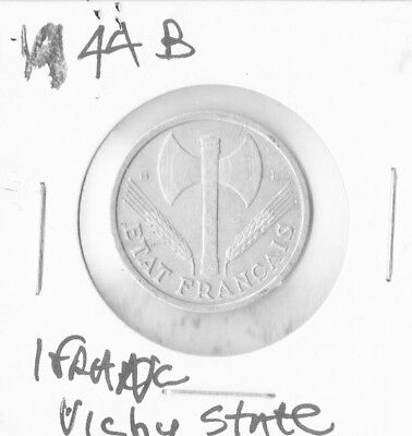 France 1944 B - 1 Franc Aluminum Coin - Vichy - WWII  FREE SHIPPING
