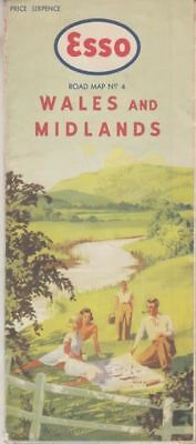 Esso Road Map Wales and Midlands Section No 4 Price Sixpence :