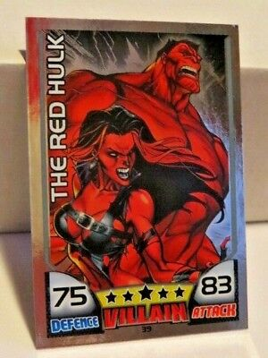 marvel HERO ATTAX MIRROR FOIL  topps trading card game #39 THE RED HULK