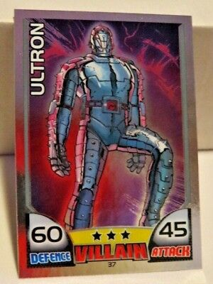 marvel HERO ATTAX MIRROR FOIL  topps trading card game #37 ULTRON