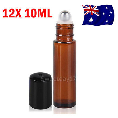 12pcs Roller Bottles Amber THICK Glass Steel Roll on Ball for Essential Oils10ml