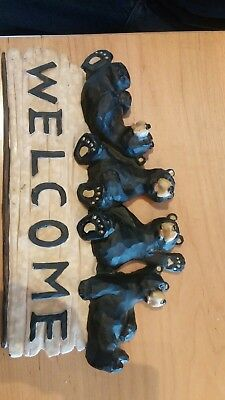 Black Bears Welcome Sign Resin Playful