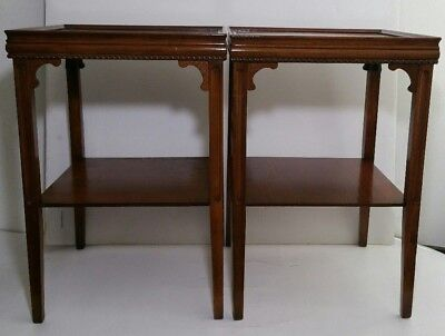 Vintage Mid Century Pair of Wooden End Tables - Chippendale Style