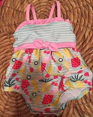 Newborn Baby Girls Unbranded Fruit Print Swimsuit Sixe 3-6 Months