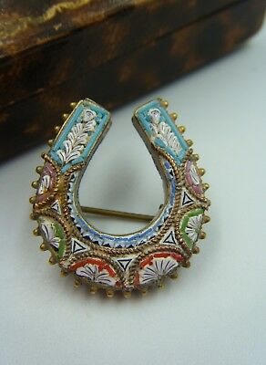 """C1900 Antique Italian Rome Crafted Glass Micro Mosaic Lucky """"HORSESHOE"""" Brooch!"""