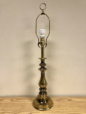 Vintage 3 Way Solid Brass Hollywood Regency Style Table Lamp w/ Harp And Finial