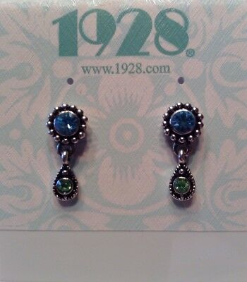 Vintage 1928 Jewelry Pierced Earrings Antique Silver Light Blue & Green Crystals